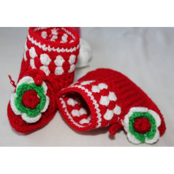 Cross Knitt Booties  (Toe to Heel Length - 12 cm Red)