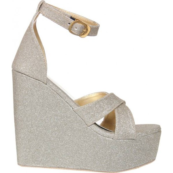 London Steps Women Silver Wedges