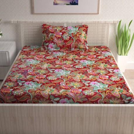 CURL UP 104 TC Cotton Single Printed Bedsheet