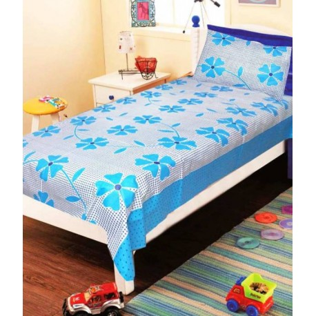 Zesture 144 TC Cotton Single Floral Bedsheet  (Pack of 1, Blue)