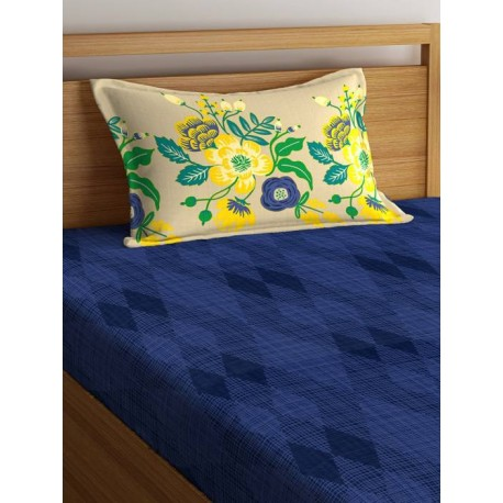Portico New York 144 TC Cotton Single Printed Bedsheet  (Pack of 1, Blue)