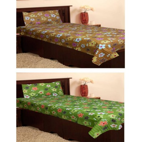 Homefab India Cotton Single Printed Bedsheet  (Pack of 2, Multicolor)