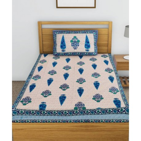 Metro Living 104 TC Cotton Single Floral Bedsheet  (Pack of 1, Blue)