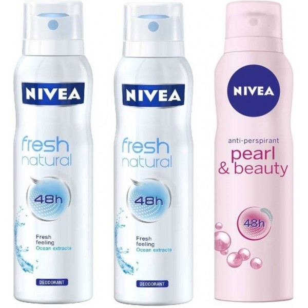 Nivea 2 Fresh Natural 1 Pearl Beauty Deodorant Spray - For Women  (450 ml, Pack of 3)