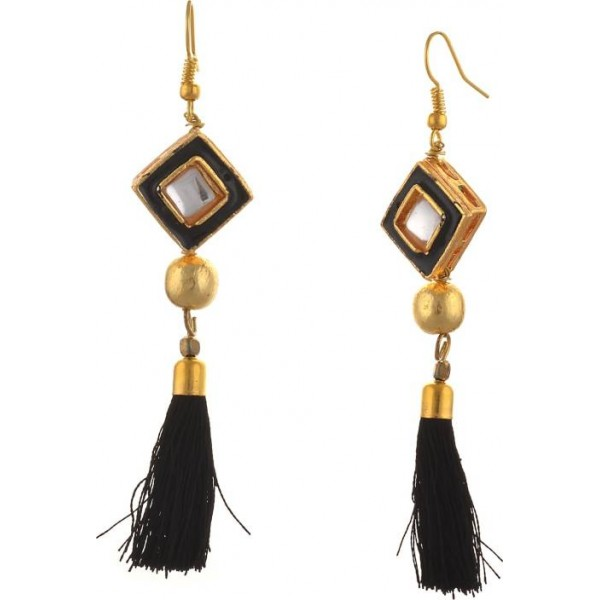 Zephyrr Fashion Lightweight Hook Tassel Earrings for Women with Kundan Meenakari Alloy Dangle Earring