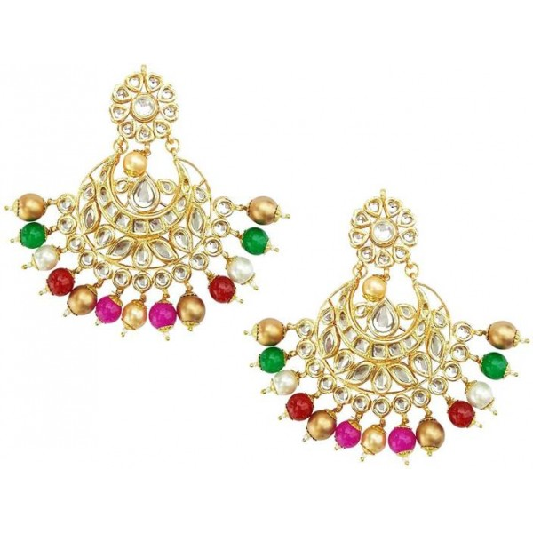 Mehrunnisa Traditional Gold Tone Kundan & Multi-Color Bead For Women Metal Chandbali Earring