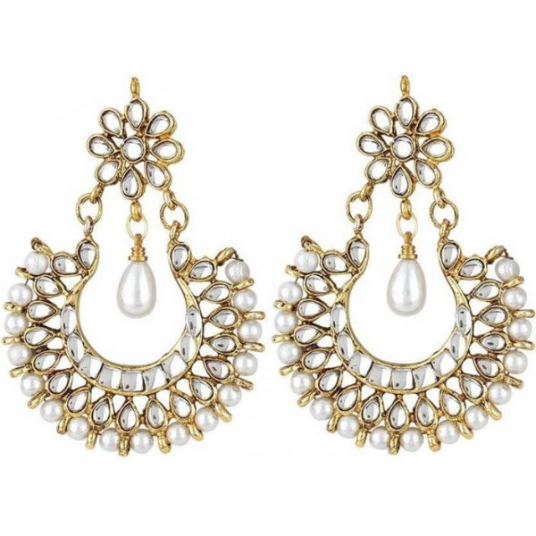 Jewels Nation Kundan Royal Diamond, Pearl Alloy Chandbali Earring