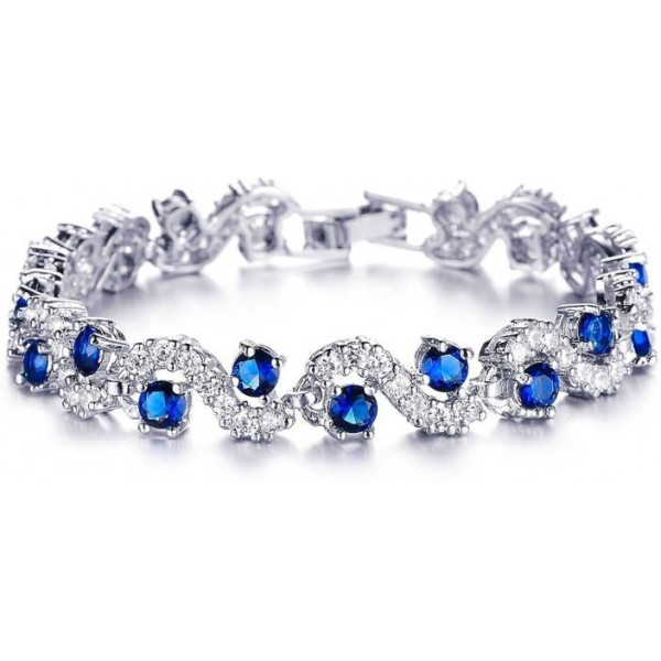 Addic Sterling Silver Crystal 18K White Gold Bracelet Set