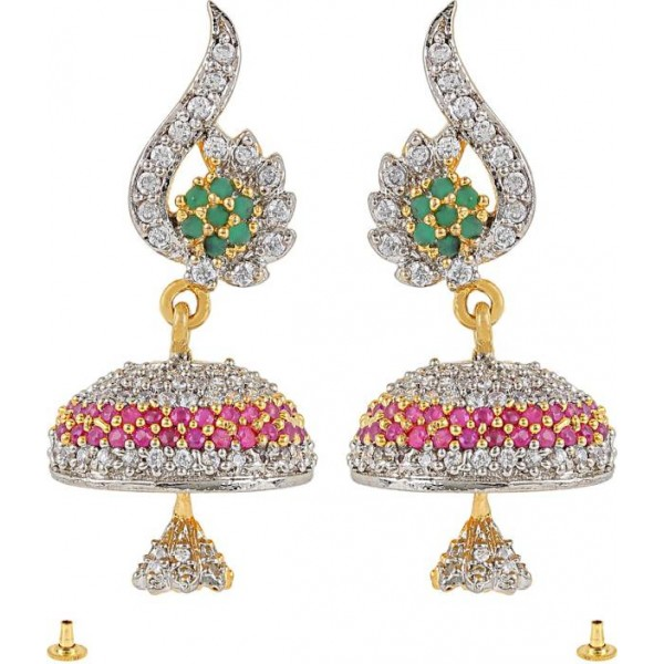 Alysa Audrica Cubic Zirconia, Ruby, Emerald Brass, Alloy, Silver Jhumki Earring