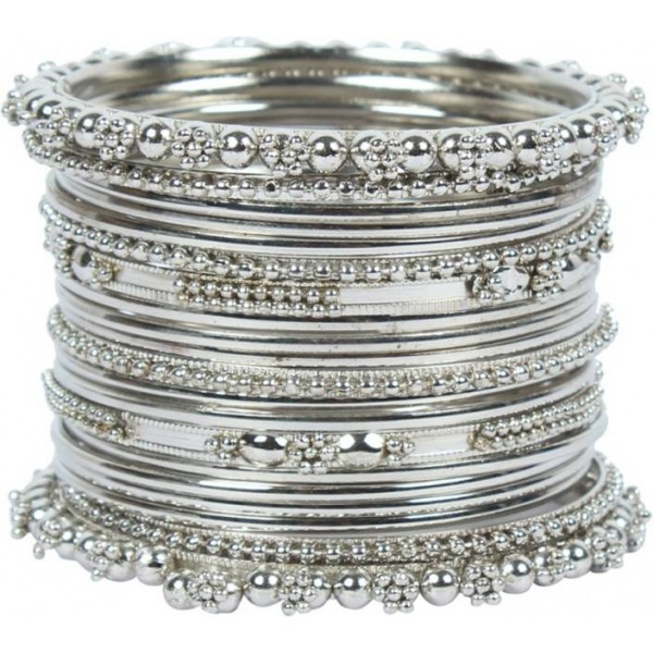 Sapna FX Silver Rhodium Chudas  (Pack of 20)