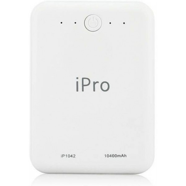 Ipro 10400 mAh Power Bank (IP1042)  (White, Lithium-ion)