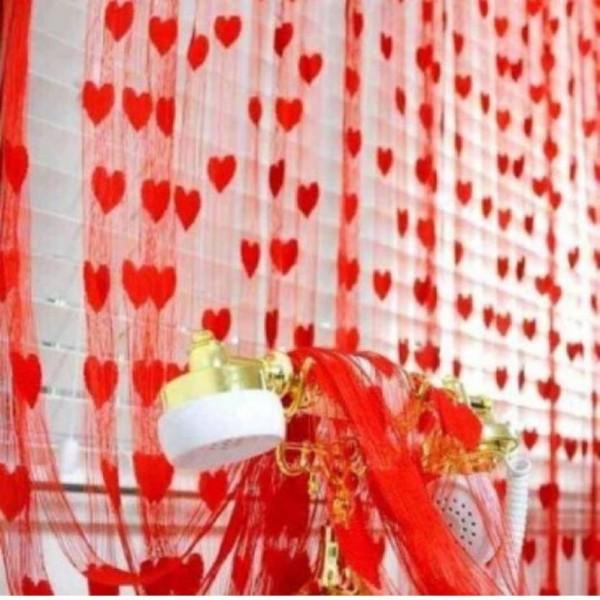 POOJA 217 (7 ft) Net Door Curtain (Pack Of 2)  (Self Design, Multicolor)