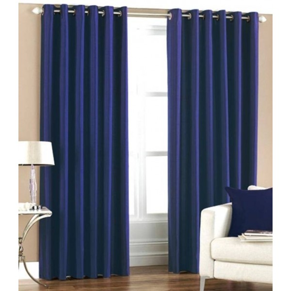 Optimistic Home Furnishing 213 cm (7 ft) Polyester Door Curtain (Pack Of 2)  (Solid, Blue)