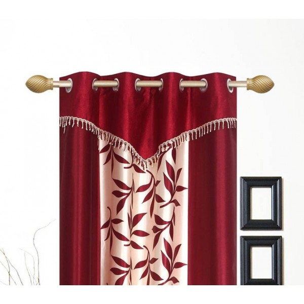 Ville Style 153 cm (5 ft) Polyester Window Curtain (Pack Of 2)  (Floral, Maroon)