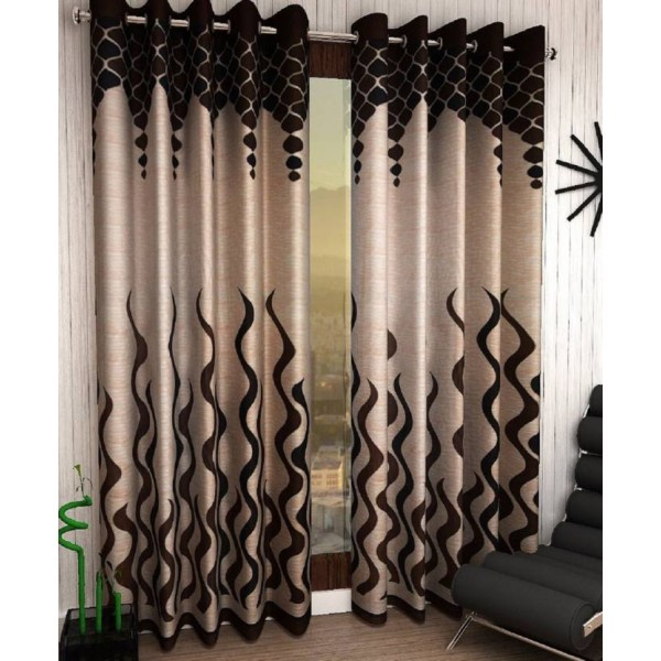Home Sizzler 153 cm (5 ft) Polyester Window Curtain (Pack Of 2)  (Abstract, Brown)