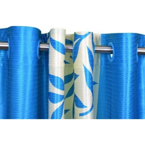 Red Hot 150 cm (5 ft) Polyester Window Curtain (Pack Of 2)  (Floral, Blue)