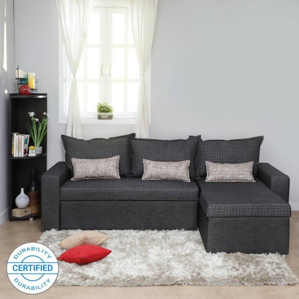 Sofame Rio Double Sofa Sectional Bed  (Finish Color - Grey Mechanism Type - Pull Out)