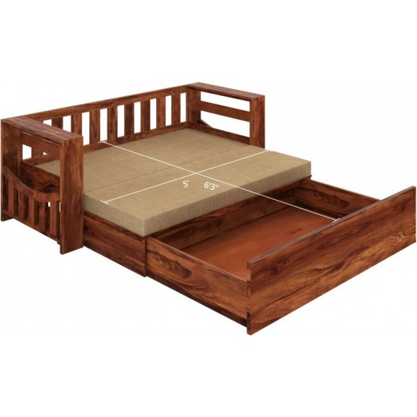 Home Edge Shredder Sheesham Double Solid Wood Sofa Bed  (Finish Color - Teak Mechanism Type - Pull Out)