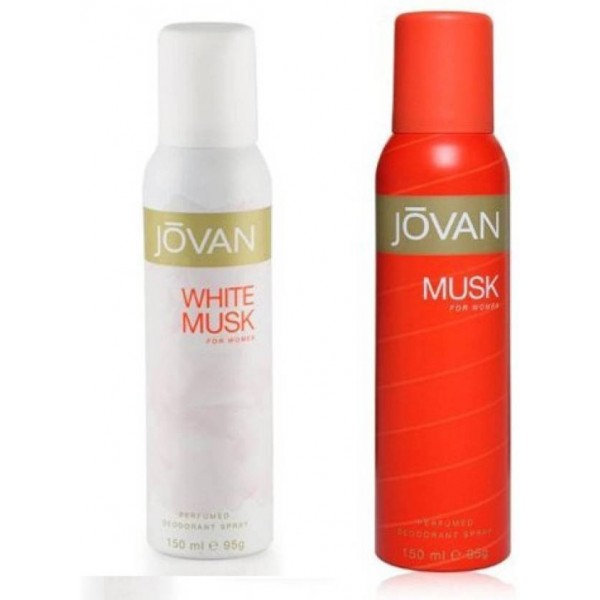 Jovan White & Musk Combo Set  (Set of 2) Deodorant Spray - For Women  (300 ml, Pack of 2)