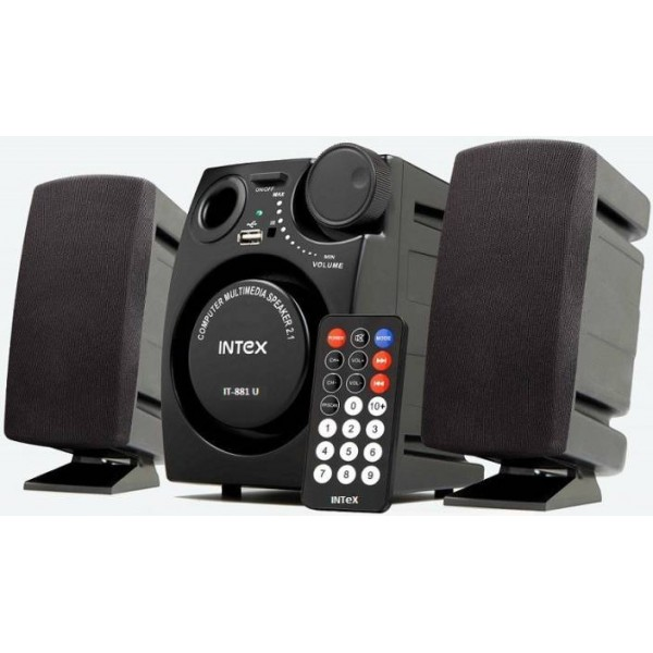 Intex IT-881 U 16 W Laptop/Desktop Speaker  (Black, 2.1 Channel)