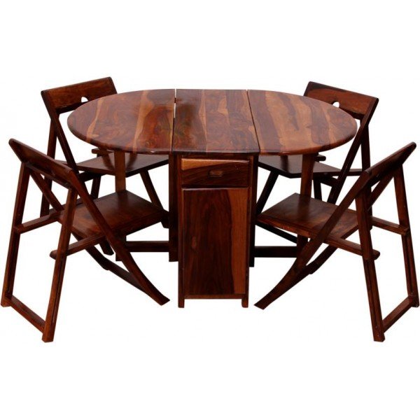 Induscraft Solid Wood 4 Seater Dining Set  (Finish Color - Brown)
