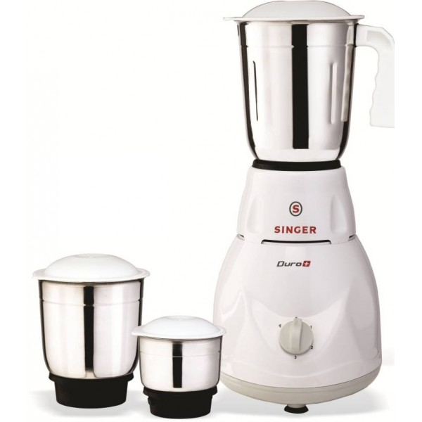 Singer Duro Plus 500 W Mixer Grinder  (White, 3 Jars)