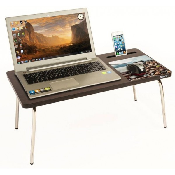 Bluewud Riodesk Ace Wood Portable Laptop Table  (Finish Color - Wenge)