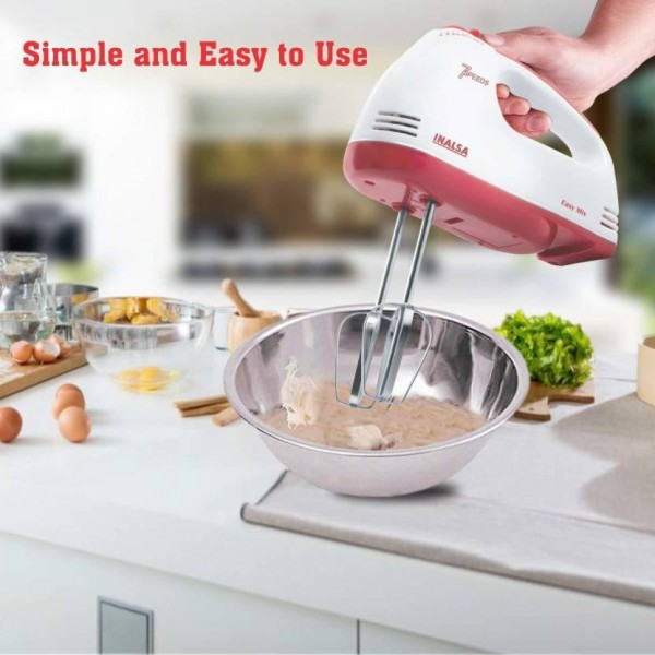 Inalsa Easy Mix Mixer 200 W Hand Blender  (Red, White)
