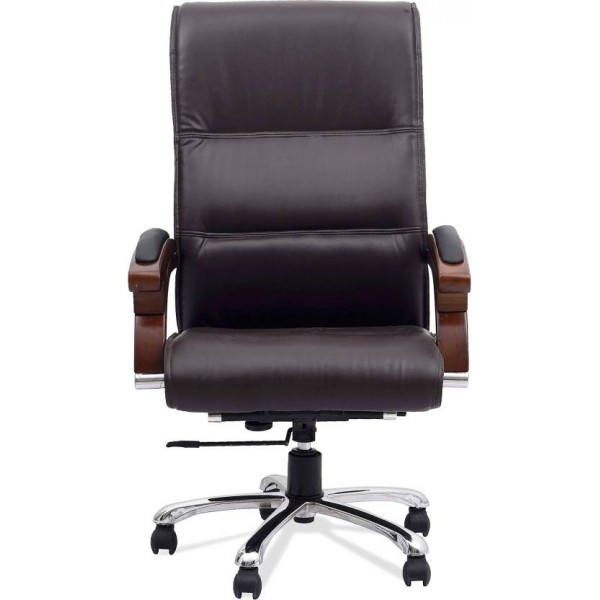 DZYN Furnitures Leatherette Office Executive Chair  (Brown)