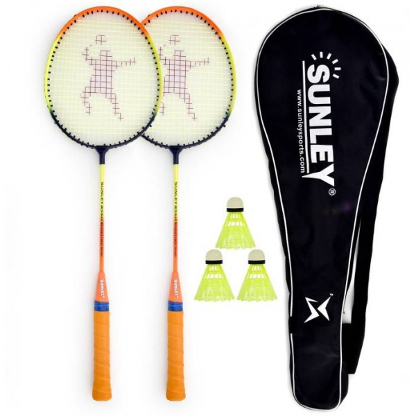 SUNLEY Swag Wide body Badminton Racquet Set Of 2 Piece, 3 Piece Nylon shuttles, 1 Piece Cover