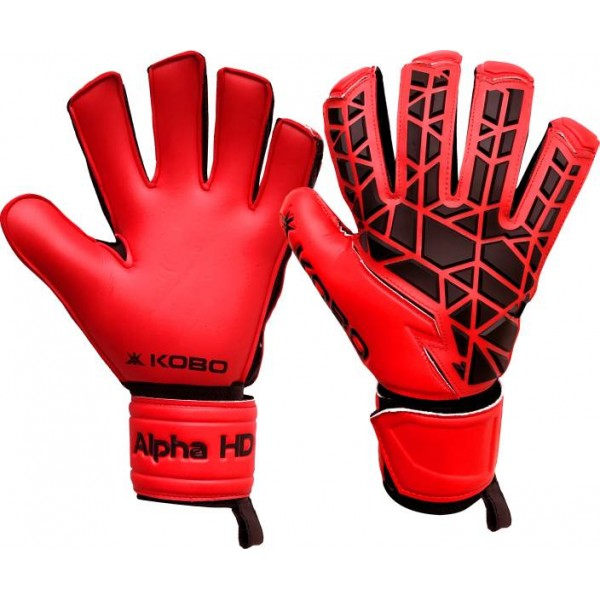 Kobo Alpha HD Football Goal Keeper / Soccer Ball Hand Protector Goalkeeping Gloves (M, Red)