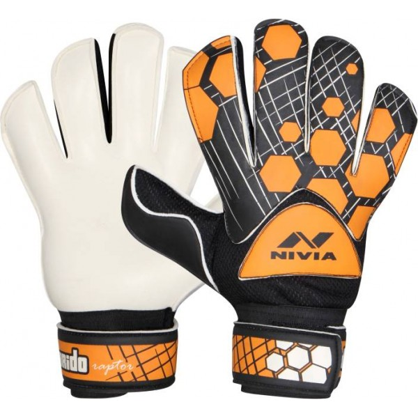 Nivia Raptor Torrido Goalkeeping Gloves (M, Black, Orange)