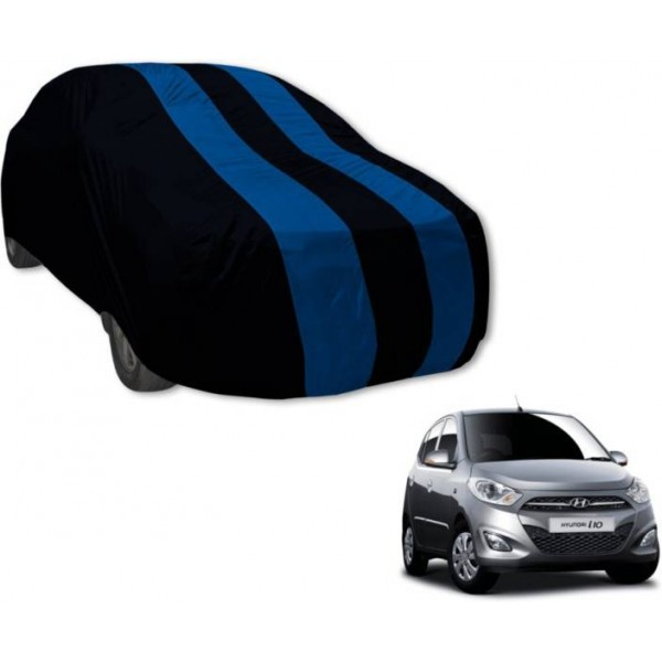 Auto Hub Car Cover For Hyundai i10 (Without Mirror Pockets)  (Black, Blue)