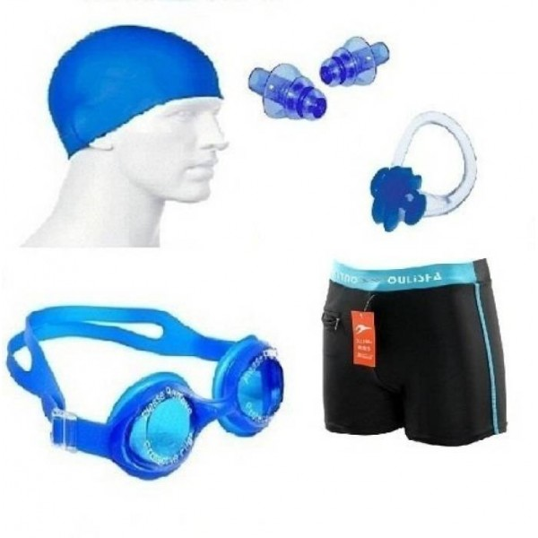 Solutions24x7 BEST QUALITY Swimming costume nose ear plug googles cap combo Swimming Kit