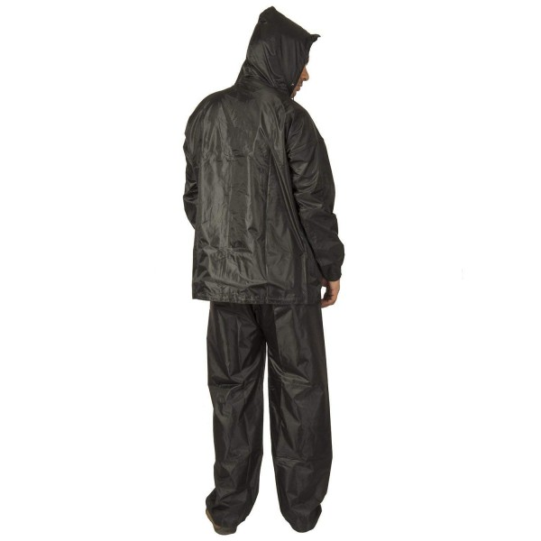 BENJOY Men's PVC Hooded Raincoat Top and Bottom Set (Salacious-blk, Black, Free Size)