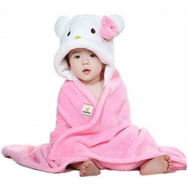 BRANDONN Pink, White Free Size Bath Robe  (Bath Robe, For: Baby Boys & Baby Girls, Pink, White)