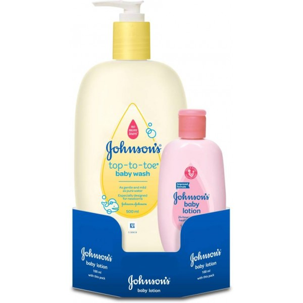 Johnson's Top to Toe Baby Wash with Baby Lotion  (500 ml, Pack of 2)