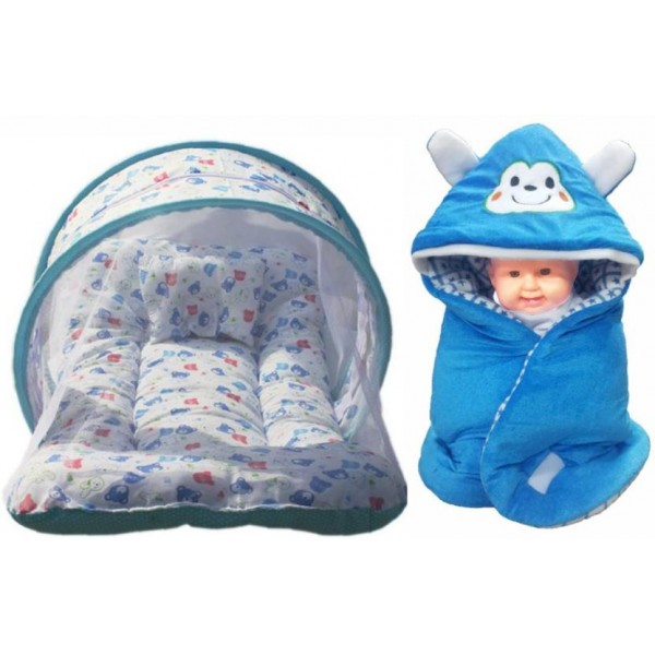 Brandonn Combo Of baby bedding set with protective mosquito net and pillow And Hooded Baby Blanket