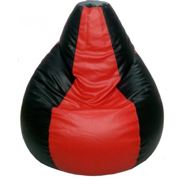 Gunj XXL Teardrop Bean Bag Cover (Without Beans)  (Red, Black)
