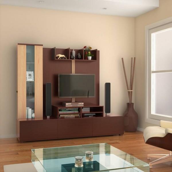 HomeTown Hugo Engineered Wood TV Entertainment Unit  (Finish Color - Walnut & Teak)