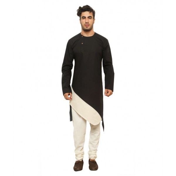 Color Opera Kreation Black Cotton Kurta Single