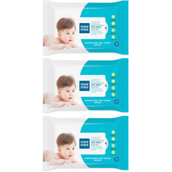 MeeMee Caring Baby Wet Wipes with Aloe Vera (72 pcs) (Pack of 3)  (3 Pieces)