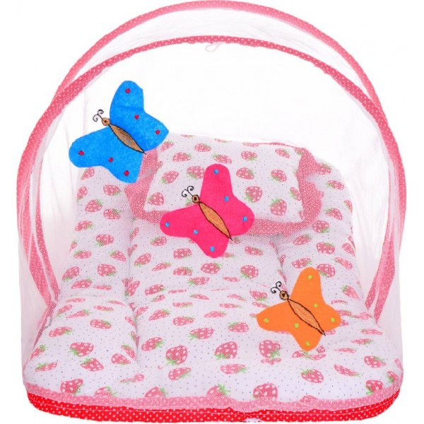 Littly Butterfly Design Cotton Bedding Set Standard Crib  (Cotton, Red)