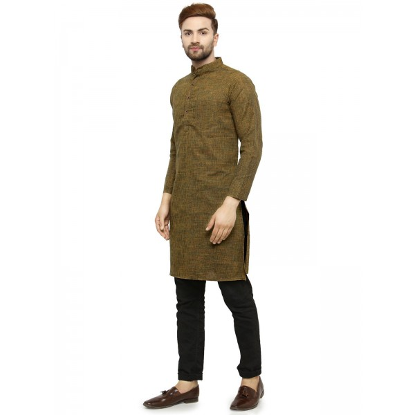 Enchanted Drapes Dark Green Cotton Kurta Single