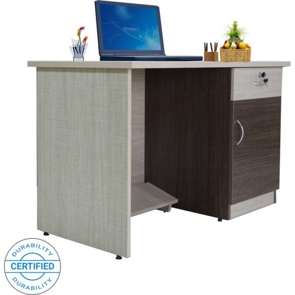 Crystal Furnitech Orion Engineered Wood Office Table  (Free Standing, Finish Color - Chocklate Sawline + sandy Sawline)