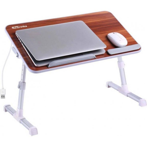 Portronics Laptop Cooling Stand Engineered Wood Portable Laptop Table  (Finish Color - Brown)