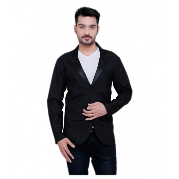 NU Abc Garments Black Solid Casual Blazers