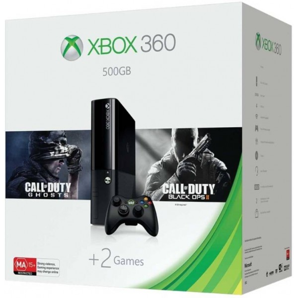 Microsoft Xbox 360 E 500 GB with Call of Duty Ghosts and Black Ops II  (Black)