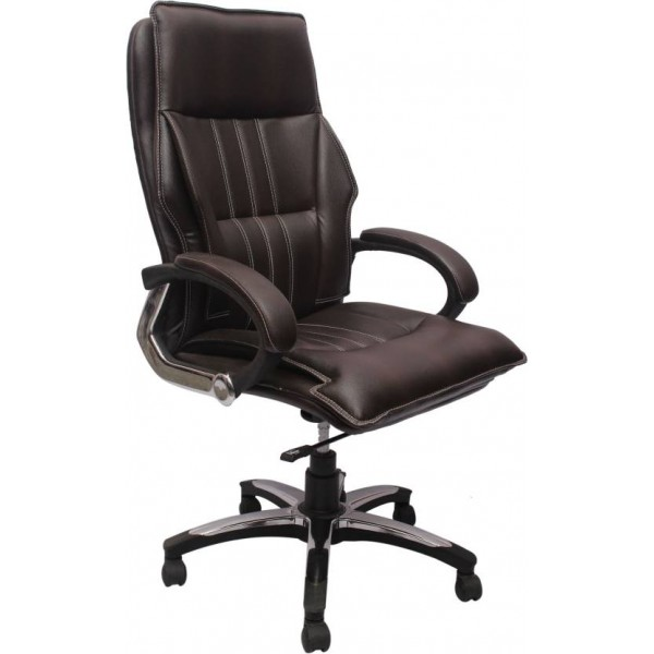 VJ Interior Leatherette Office Arm Chair  (Brown)