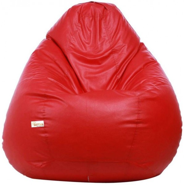 Sattva XXL Bean Bag Cover (Without Beans)  (Red)